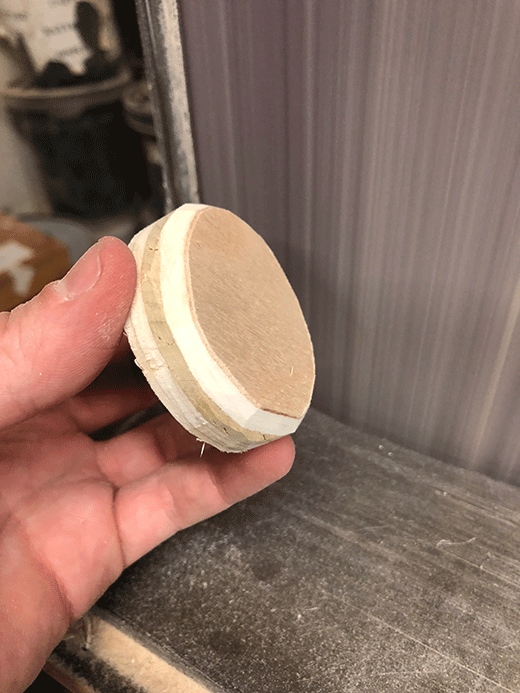Sanding a chamfered edge onto the end caps